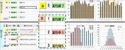 太陽光発電システム・発電量推定シミュレーション実行画面 例